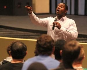 Ray McElroy speaks at Higley High School