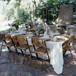 A beautiful meal setting takes a little backdrop