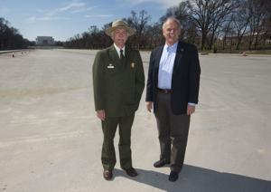 "<p>In this Monday, March 23, 2015 photo, National Park Service Director Jonathan Jarvis, left, and the head of the National Park Foundation Dan Wenk stand in an empty Lincoln Memorial Reflecting Pool on the National Mall in Washington. With its centennial approaching in 2016, the park service will launch a major campaign Thursday, April 2 in New York City to raise support and introduce a new, more diverse generation of millennials and children to ""America's best idea,"" the national parks. (AP Photo/Pablo Martinez Monsivais)</p>"