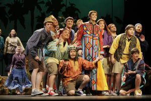 "<p>Brady Quisberg (center, as Joseph) and Copperstar Repertory Company castmates perform ""Joseph and the Amazing Technicolor Dreamcoat"" in 2009.</p>"
