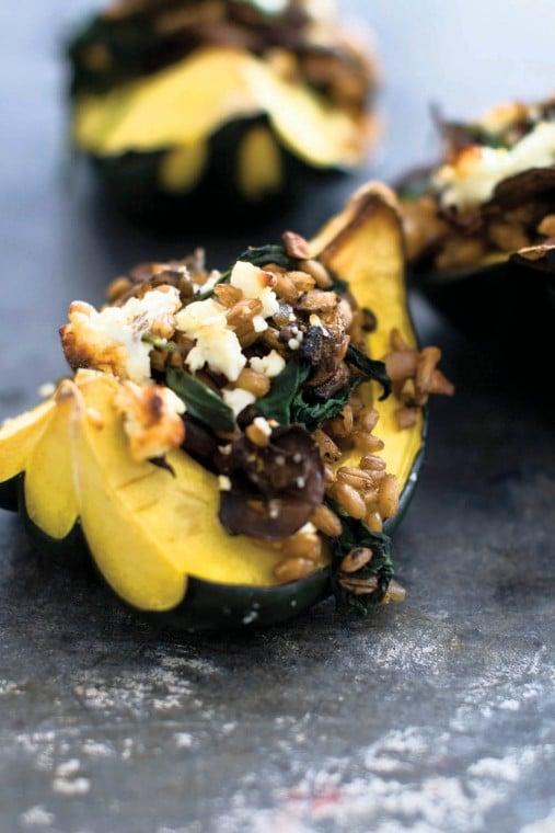 Mushroom stuffed acorn squash