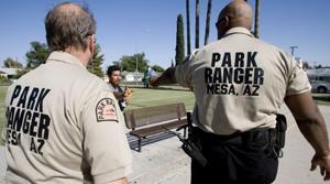 Mesa park rangers distribute water to needy