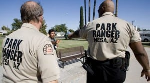 Mesa park rangers distribute water to needy