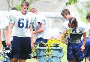 Football practice in heat