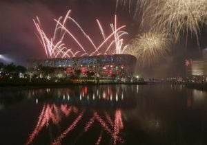 Olympic games open with pageantry, pyrotechnics