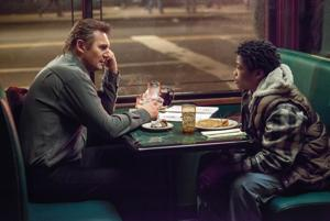 """<p><span>Liam Neeson, left, as Matt Scudder and Brian """"Astro"""" Bradley as TJ, in a scene from the film, """"A</span><span style=""""color: red;"""">Walk</span><span></span><span style=""""color: red;"""">Among</span><span>the</span><span style=""""color: red;"""">Tombstones</span><span>."""" (AP Photo/Universal Pictures, Atsushi Nishijima)</span></p>"""