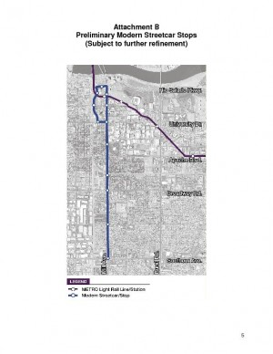 Map: Proposed Tempe streetcar route and stops