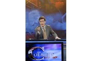 Colbert spoofs cable-news punditry