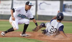 Baseball: Highland Vs Desert Vista: Highland's Ryan Maes (2) tags Desert Vista's Zach Hardy (23) out at second base during the baseball game between Highland and Desert Vista at Highland High School on Wednesday, April 2, 2014. - [David Jolkovski/Tribune]