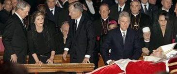 Bush, former presidents view pope's body