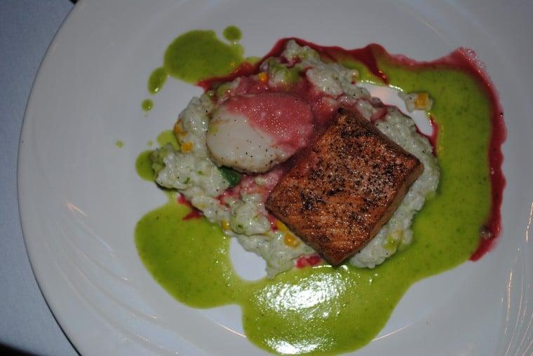 Salmon, scallop and risotto appetizer