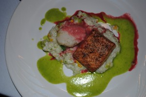 Salmon, scallop and risotto appetizer