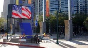 Mesa Arts Center marquee being installed