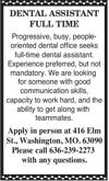 Full Time Dental Assistant