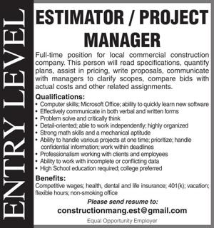 Estimator / Project Manager