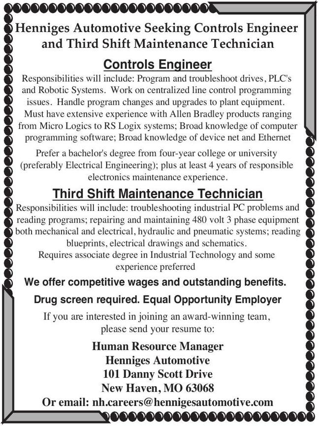 Controls Engineer & Third Shift Maintenance Technician Positions Available