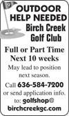 Outdoor Help Needed - Birch Creek  Golf Club
