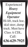 Experienced Heavy Equipment Operator