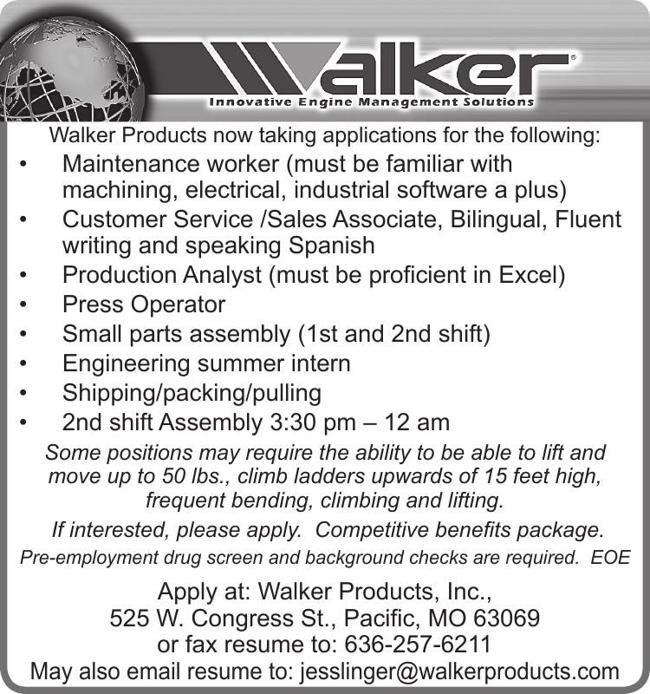Walker Products now hiring