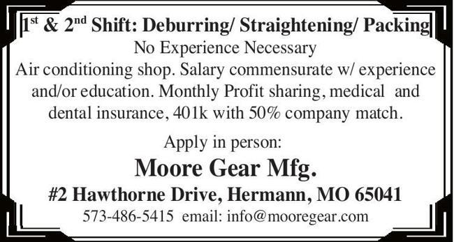1st & 2nd Shift: Deburring/ Straightening/ Packing