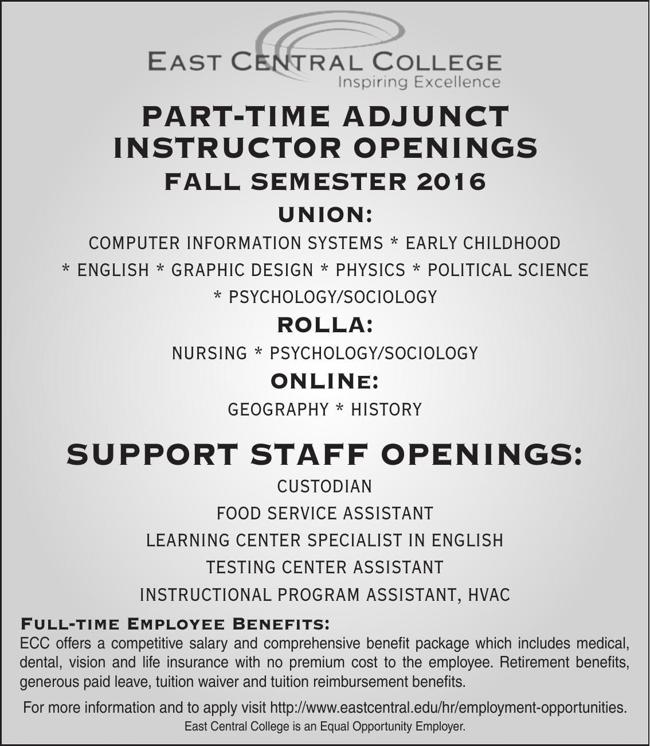 Part Time Adjunct Instructors
