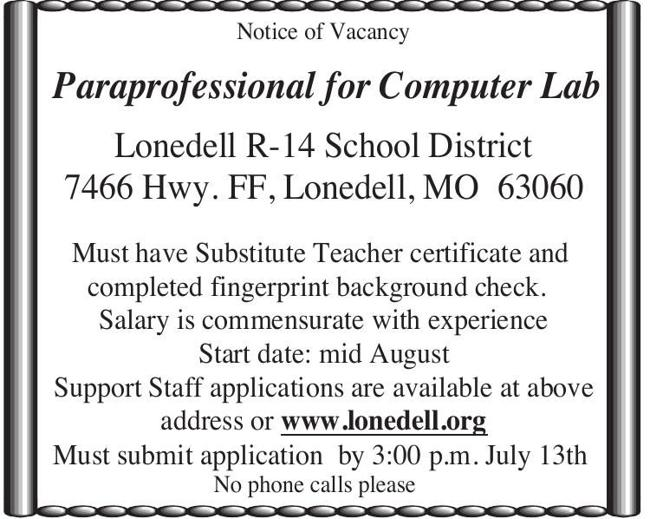 Paraprofessional for Computer Lab