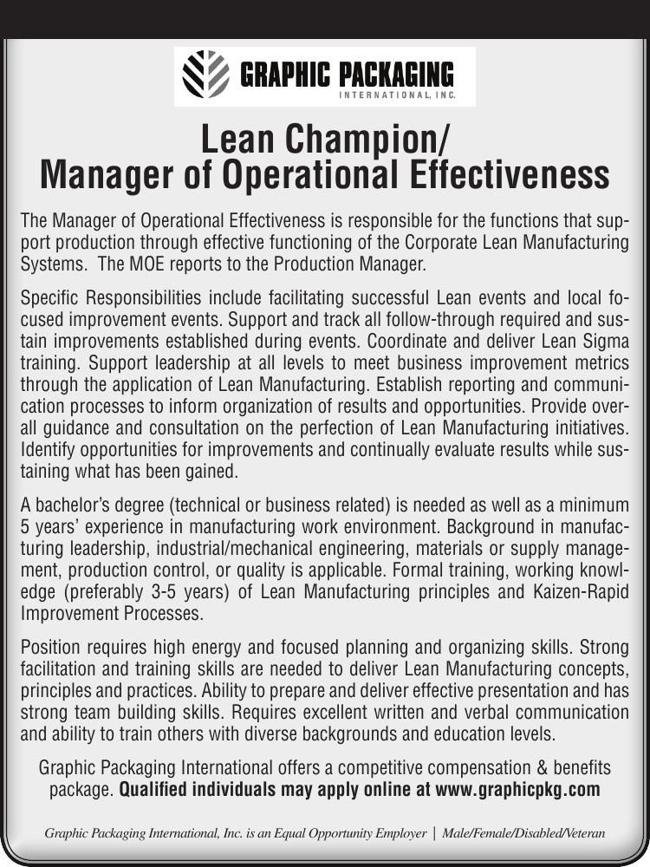 Lean Champion/Manager of Operational Effectiveness