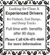 Experienced Class A Drivers Wanted