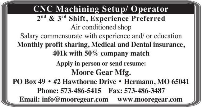 CNC Machining Setup/ Operator 2nd & 3rd Shift