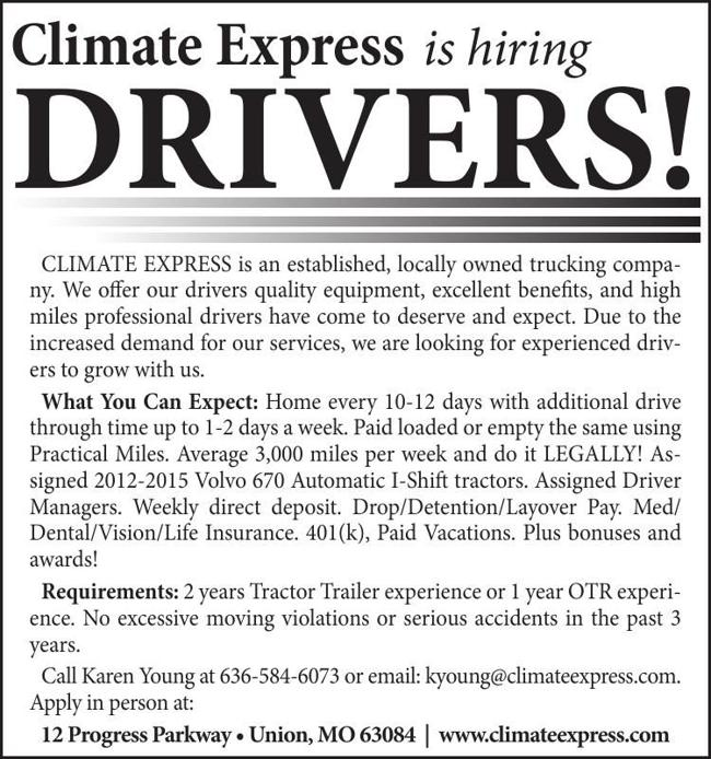 Climate Express is hiring Drivers!