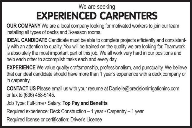 Experienced Carpenters