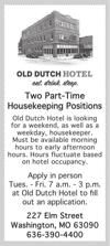 Two Part-Time House Keeping Positions