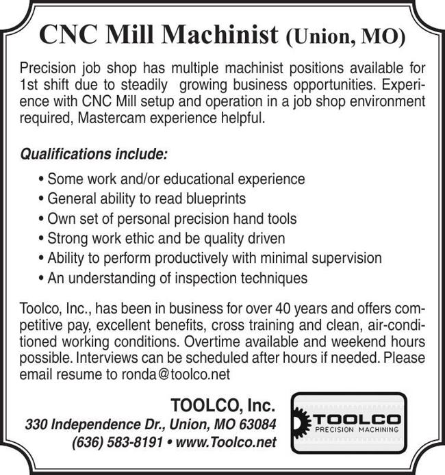 CNC Mill Machinist