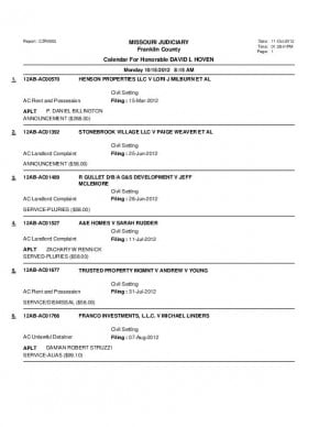 Oct. 15 Franklin County Associate Circuit Court Docket