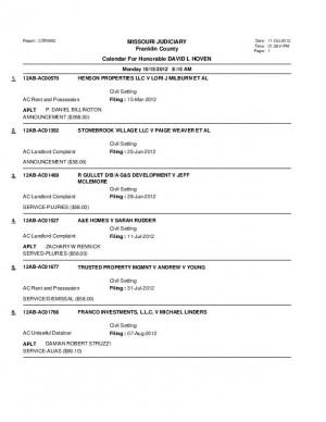 Oct. 15 Franklin County Associate Circuit Court Docket