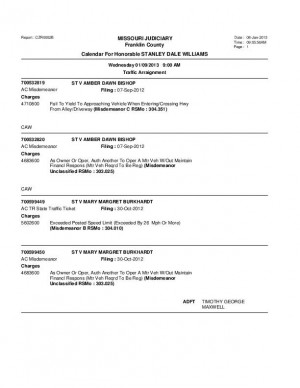 Jan. 9 Franklin County Associate Circuit Court Division VII Docket