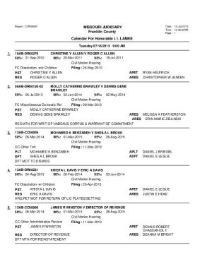 July 16 Franklin County Cicrcuit Court Dvision II Motion Docket