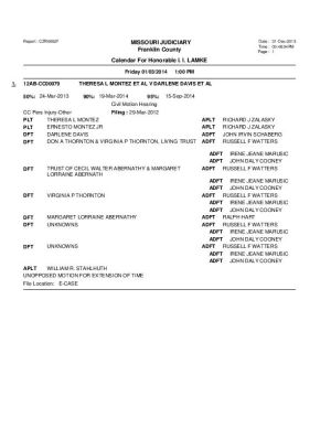 Jan. 3 Franklin County Circuit Court Dvision II Docket