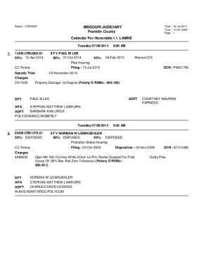 July 8 Franklin County Circuit Court Division II Docket