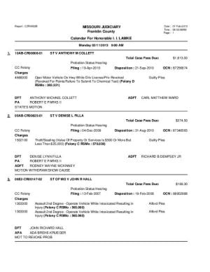 Feb. 11 Franklin County Probation Docket