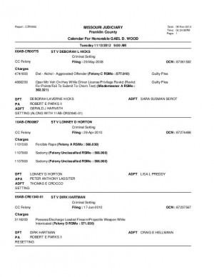 Nov. 13 Franklin County Circuit Court Division 1 Docket