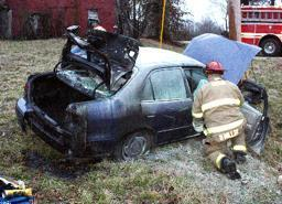 Vehicle Crashes, Catches Fire