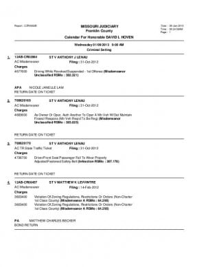 Jan. 9 Franklin County Associate Circuit Court Dvision VI Docket