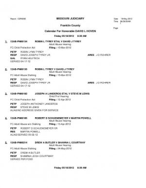 Franklin County Division VI Adult Abuse Court Dockets for May 18