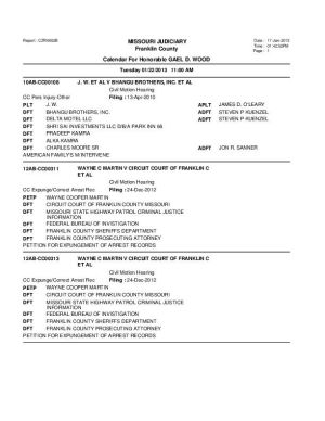 Jan. 22 Franklin County Circuit Court Division I Docket  (Part 2)
