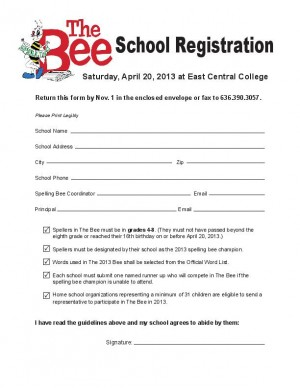 The Bee 2013 Registration Form