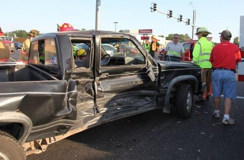 Truck Damaged, Driver Injured