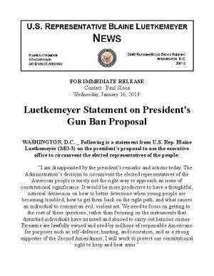 Luetkemeyer Statement on Gun Ban