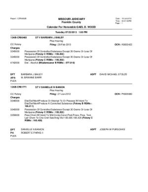 July 23 Franklin County Circuit Court Dvision 1 Docket (Part 5)