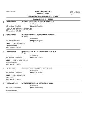 April 21 Franklin County Associate Circuit Court Division VI Docket